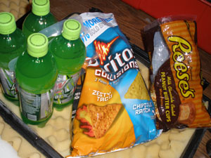 Mt. Dew, Doritos and Reese's Peanut Butter Cups